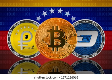 Bitcoin, petro and dash cryptocurrency in Venezuela; bitcoin, petro and dash coins on the background of the flag of Venezuela