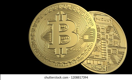 Bitcoin. Physical bit coin. Digital currency. Cryptocurrency. Golden coin with bitcoin symbol. 3D CG. 3D illustration.
