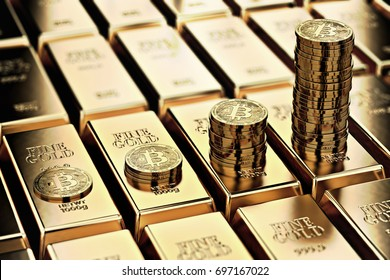 Bitcoin piles on rows of gold bars (gold ingots). Bitcoin keep growing and it is as desirable as gold concept. 3D rendering