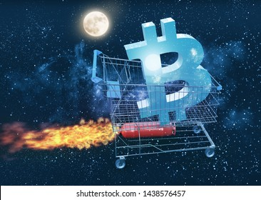 bitcoin price rises and going to the moon concept, 3D illustration