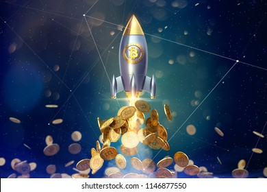 Bitcoin rocket launcher, cryptocurrency concept. The growth rate of the gold coin for designers and breaking news. Gold piece appreciation in the form. 3d render