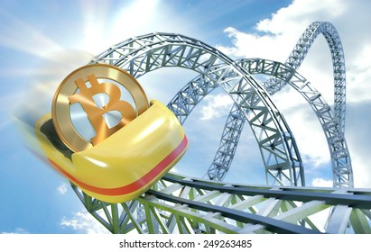 Bitcoin rollercoaster dynamic scene with coin getting speed in cart