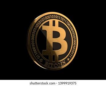 Bitcoin - shinny metallic gold coin 3D render