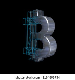 Bitcoin sign, blue grid goes to platinum or silver on a black background. 3D illustration