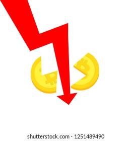 Bitcoin slump concept. Price drop breaks a coin into two parts.