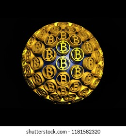Bitcoin sphere contains of gold coins. Technological financial sign. Golden business