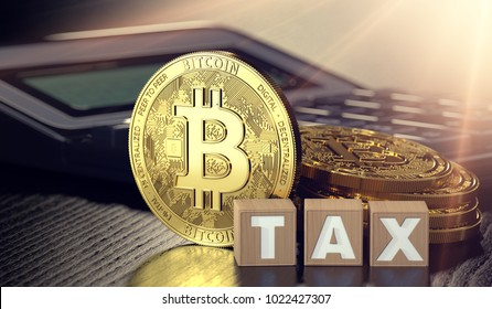 Bitcoin standing in front of calculator and next to wooden blocks with TAX letters. Bitcoin taxation concept. 3D rendering