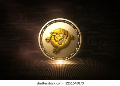Bitcoin SV - BSV - 3D illustration Cryptocurrency Coin - Front View