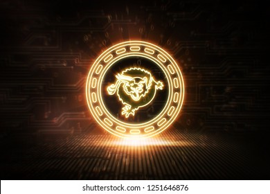 Bitcoin SV - BSV - 3D illustration Cryptocurrency Neon Coin