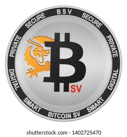 Bitcoin SV (BSV) coin isolated on white background; bitcoin sv cryptocurrency
