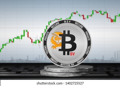 Bitcoin SV (BSV) coin on the background of the chart; bitcoin SV cryptocurrency