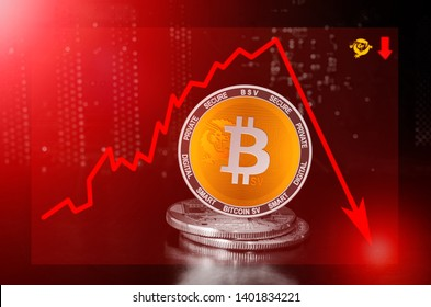 Bitcoin SV (BSV) cryptocurrency value price fall drop; bitcoin sv price down