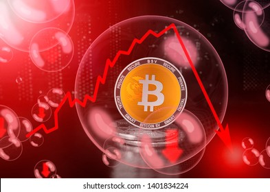 Bitcoin SV (BSV) in a soap bubble. Risks and dangers of investing to bitcoin sv. Collapse of the exchange rate. Unstable concept