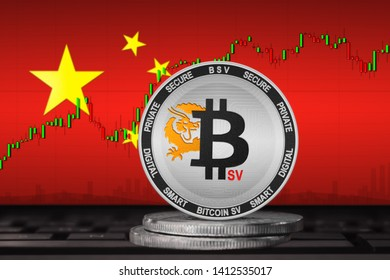 Bitcoin SV China; Bitcoin SV (BSV) coin on the background of the flag of China
