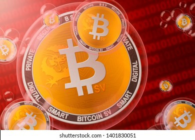 Bitcoin SV crash; bitcoin sv (BSV) coins in a bubbles on the binary code background. Close-up. 3d illustration