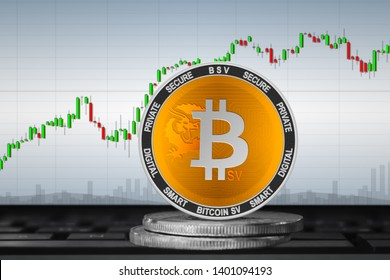 Bitcoin SV; cryptocurrency coins - bitcoin SV (BSV) on the background of the chart. 3d illustration