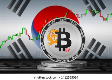 Bitcoin SV Korea; Bitcoin SV (BSV) coin on the background of the flag of South Korea