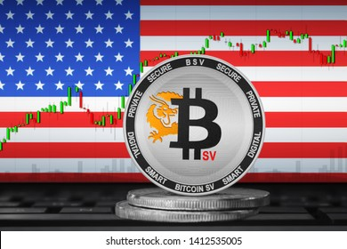 Bitcoin SV USA; Bitcoin SV (BSV) coin on the background of the flag of United States of America