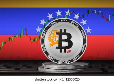 Bitcoin SV Venezuela; Bitcoin SV (BSV) coin on the background of the flag of Venezuela