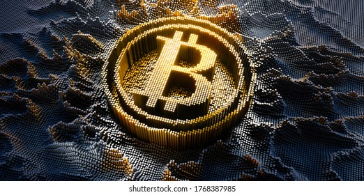 Bitcoin Symbol in a digital raster micro structure - 3d illustration