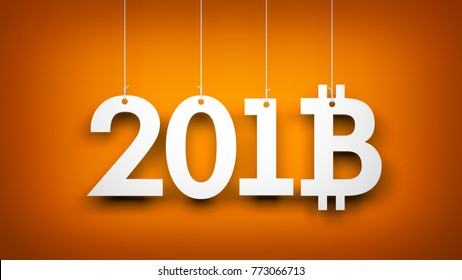 Bitcoin - symbol of Ney Year. New year illustration. 3d illustration