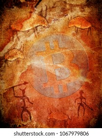bitcoin symbol on prehistoric background with animals and hunters digital illustration