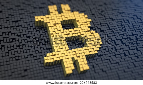 Bitcoin symbol of the yellow square pixels on a black matrix background. Cryptocurrency concept.
