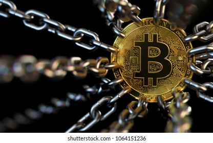 Bitcoin trapped with chains - cryptocurrencies in trouble concept. Bans, restrictions, taxes, illegal. 3D rendering
