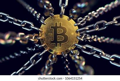 Bitcoin trapped with chains - as governments try to ban it. 3D rendering