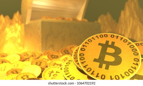 Bitcoin treasure chest standing amid mountains of coins