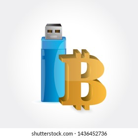 bitcoin and USB Illustration design over a white background