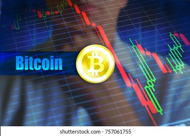 Bitcoin volatility concept. Rapid change, falling bitcoin price graph. Concept image, invest risk in bitcoin and unstability of cryptocurrency.