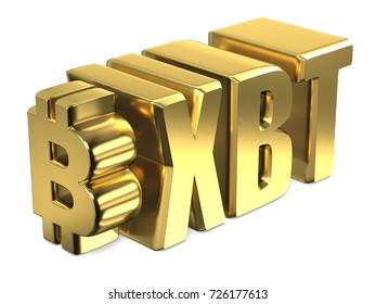 Bitcoin XBT golden currency sign 3D render illustration isolated on white background