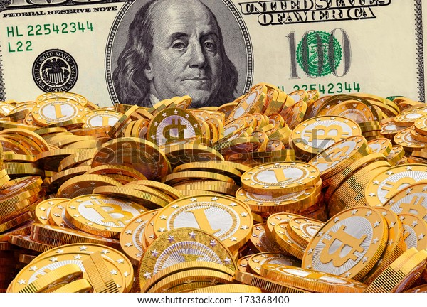 Bitcoins and Dollar - 3D Rendering