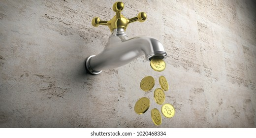 Bitcoins falling out from a golden silver faucet on beige background. 3d illustration