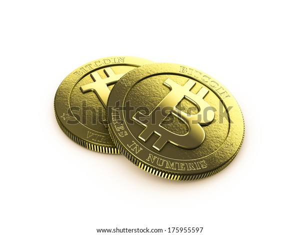 bitcoins on white background