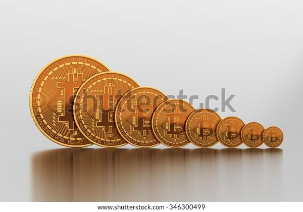 Bitcoins Vary In Size. 3D Scene.