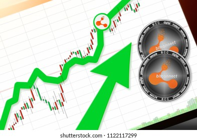 Bitconnect (BCC) index rating go up on exchange market; cryptocurrency chart on tablet pc (smartphone) with arrow pointing up and coins bitconnect. Place for text (prices); top view