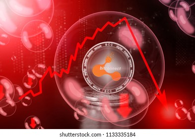 Bitconnect (BCC) in a soap bubble. Risks and dangers of investing to bitconnect. Collapse of the exchange rate. Unstable concept