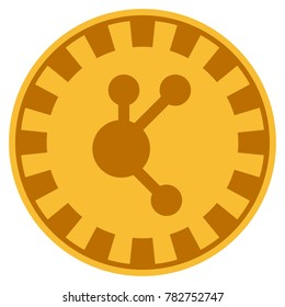 Bitconnect golden casino chip pictograph. Raster style is a gold yellow flat gambling token symbol.