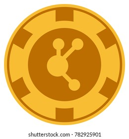 Bitconnect golden casino chip pictograph. Raster style is a gold yellow flat gamble token symbol.