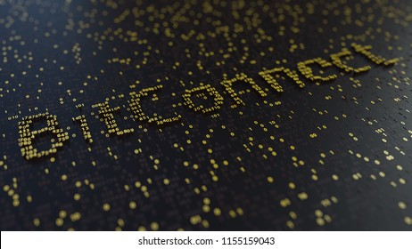 BitConnect word made of golden numbers. 3D rendering