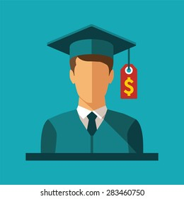bitmap concept of investment in education with student and price label