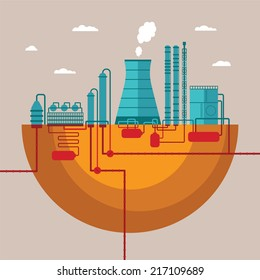 Bitmap concept of refinery plant for processing natural resources or manufacturing products factory with distribution pipes network