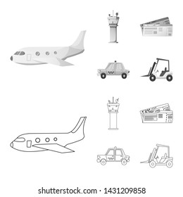 bitmap design of airport and airplane icon. Set of airport and plane stock bitmap illustration.