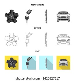 Bitmap design of auto and part sign. Collection of auto and car stock bitmap illustration.