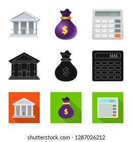 bitmap design of bank and money icon. Set of bank and bill stock bitmap illustration.