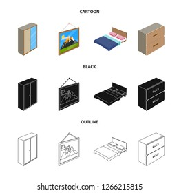 bitmap design of bedroom and room logo. Set of bedroom and furniture stock bitmap illustration.