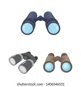 bitmap design of binocular and discovery symbol. Set of binocular and search stock bitmap illustration.