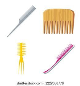 bitmap design of brush and hair logo. Collection of brush and hairbrush bitmap icon for stock.